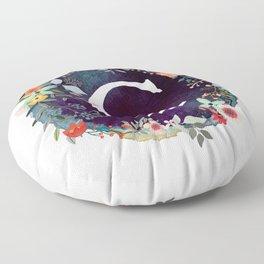Personalized Monogram Initial Letter C Floral Wreath Artwork Floor Pillow