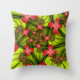 On A Flower Meadow, Abstract Fractal Art Fantasy Flowers Throw Pillow