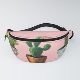 Three Cacti With Flowers On Pink Background Fanny Pack