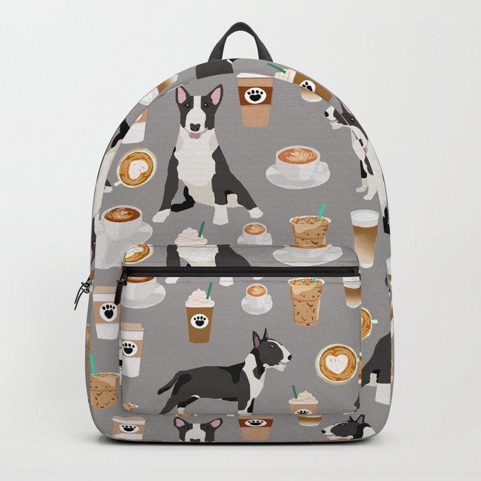 Bull Terrier coffee latte cafe dog breed cute custom pet portrait pattern Backpack
