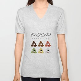 Poop diversity- Types of poop happy emoticons Unisex V-Neck