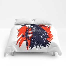 Military skeleton - grim soldier - gothic reaper Comforters
