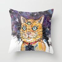 space cat Throw Pillows featuring Space Cat by scoobtoobins