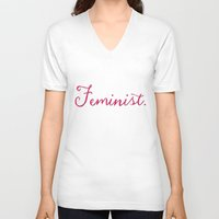 feminist V-neck T-shirts featuring Feminist. by Glimmersmith