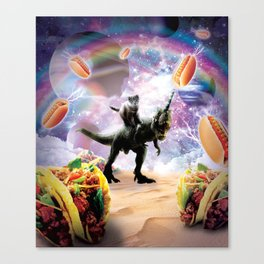 Space Cat Riding Dinosaur Unicorn - Hotdog & Taco Canvas Print
