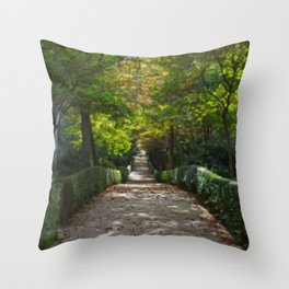 Tree lined path in Madrid Throw Pillow