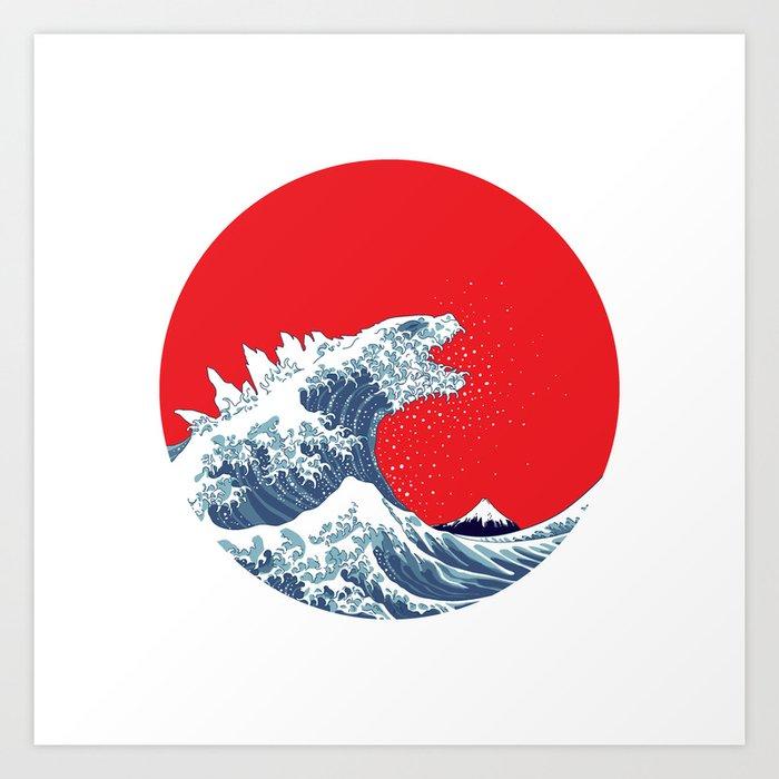 hokusai godzilla variant art print - Godzilla Pictures To Print