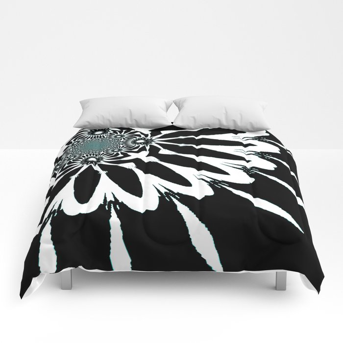 The Modern Flower Black White Blue Comforters By Vintageby2sweet