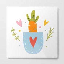 Cute carrot in a pocket Metal Print