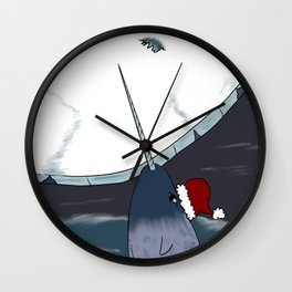 A Narwhal For Christmas Wall Clock