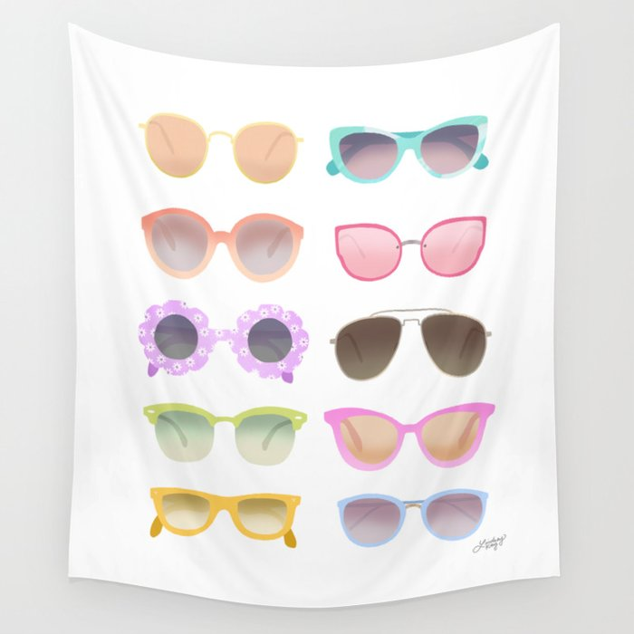 Colorful Sunglasses Wall Tapestry