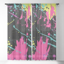 Splatter Paint Black Sheer Curtain