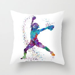 Girl Baseball Softball Pitcher Throw Pillow