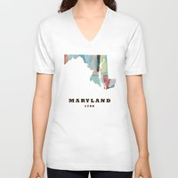 maryland V-neck T-shirts featuring Maryland state map modern by bri.buckley