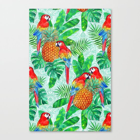 Pineapples and Parrots Tropical Summer Pattern Canvas Print