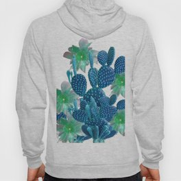 SURREAL BLUE PEAR CACTUS & FLOWERS DESERT ART Hoody