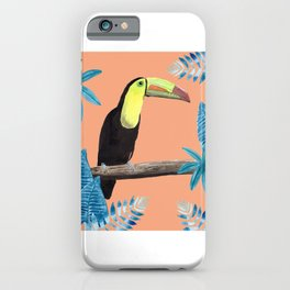 Toucan with tropical leaves and a coral background iPhone Case