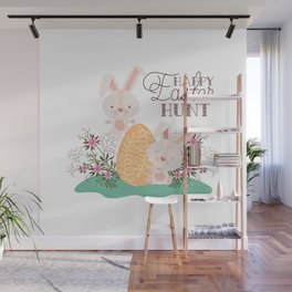 Happy Easter Bunny Rabbits Eggs and Pink Flowers 3 Wall Mural