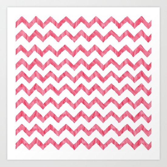 Chevron Red And White Art Print