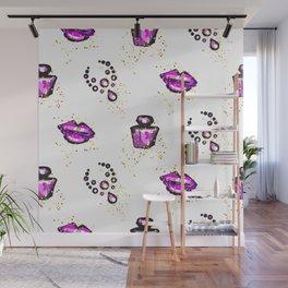 Purple lips with perfume Wall Mural