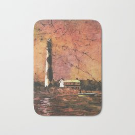 Cape Lookout lighthouse w/ faux photo border- Outer Banks, North Carolina Bath Mat