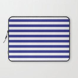 Simple Dark Blue & White Stripes Laptop Sleeve