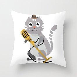 Gray Cat Holding Microphone Cartoon Throw Pillow