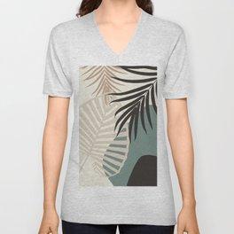Minimal Tropical Palm Leaf Finesse #2 #tropical #decor #art #society6 Unisex V-Neck
