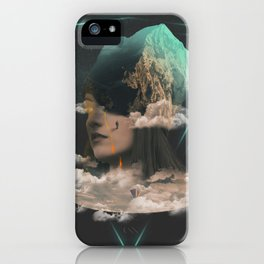 A adventurer climbing the magma crying sky-woman-mountain iPhone Case