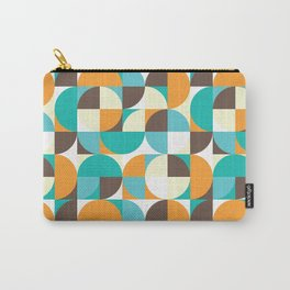 Teal and Yellow Vintage Geometry Carry-All Pouch