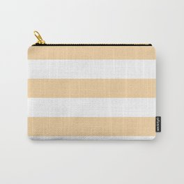 Horizontal Stripes - White and Sunset Orange Carry-All Pouch