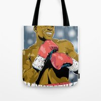 floyd Tote Bags featuring Floyd Mayweather by Averagejoeart