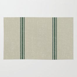 Green Stripes on Linen color background French Grainsack Distressed Country Farmhouse Rug