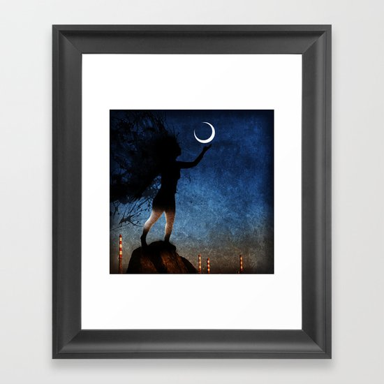 give the moon a little kiss for me Framed Art Print