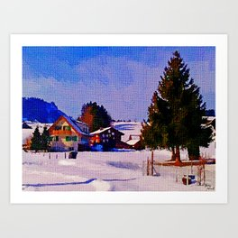 Snow in my small town Art Print