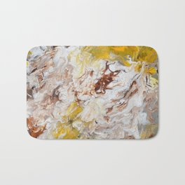 Brown, White and Yellow Abstract Art Bath Mat