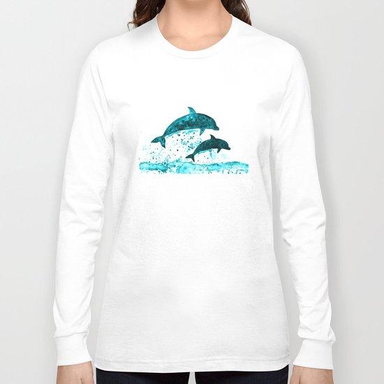 Dolphins, navy blue Long Sleeve T-shirt