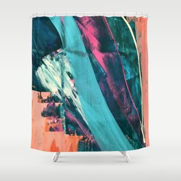 Wild [7]: a bold, colorful abstract mixed-media piece in teal, orange, neon blue, pink and white Shower Curtain