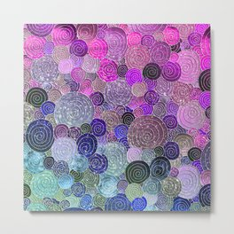 Abstract blue& purple glamour glitter circles and dots for Girls and ladies Metal Print