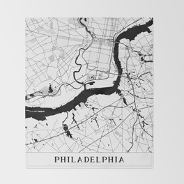 Philadelphia Minimal Map Throw Blanket