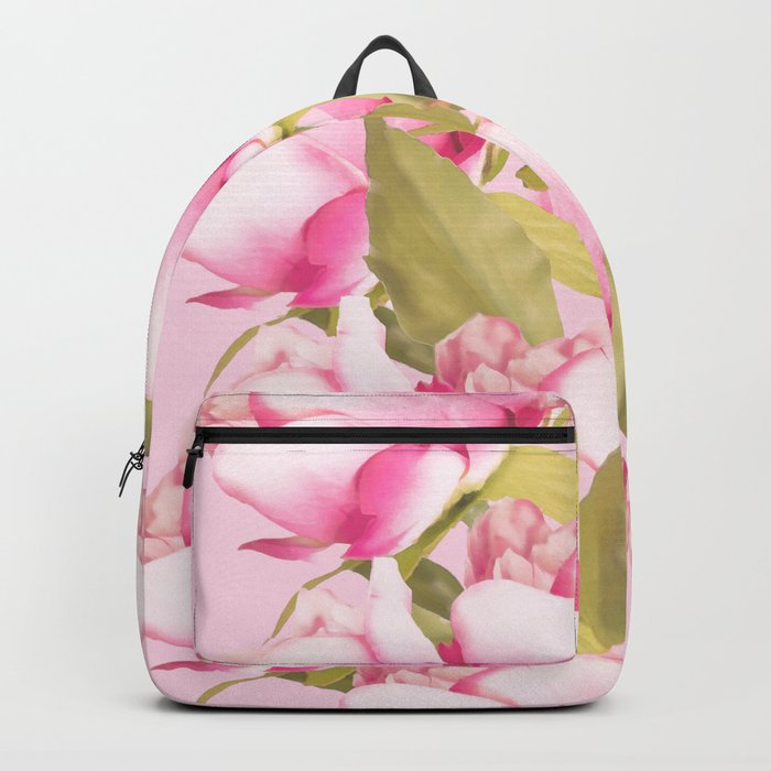 Pink Peonies on a pink background - #Sociey6 #buyart Backpack