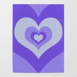 Radiating hearts Purple Poster