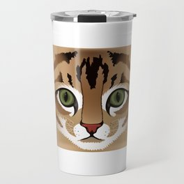 Cute brown tabby cat face close up illustration Travel Mug