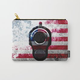 M1911 Colt 45 and American Flag on Distressed Metal Carry-All Pouch