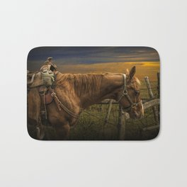 Saddle Horse on the Prairie Bath Mat