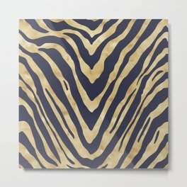 Zebra Stripes in Glam Blue and Gold Metal Print