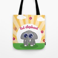 lsd Tote Bags featuring LSD Elephant by flydesign