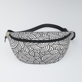 Black and white swirls doodles Fanny Pack