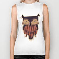 owl Biker Tanks featuring Owl by Yetiland