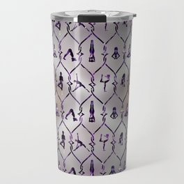 Amethyst Yoga Asanas pattern on mother of pearl Travel Mug
